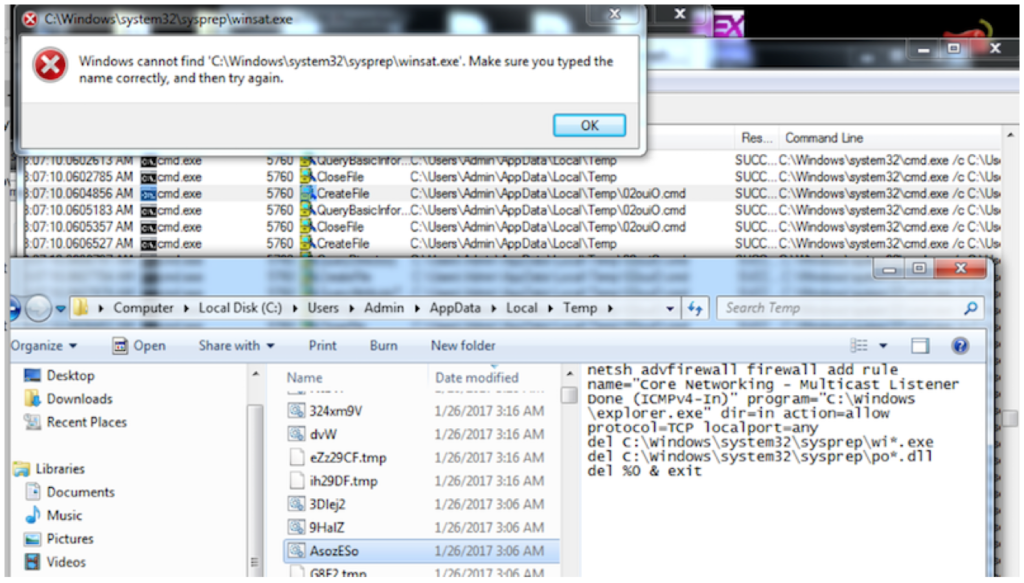 Image 7: Dridex creates a custom firewall ruleset and attempts to delete files from the sysprep directory.