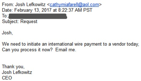 Image 1. Wire transfer request
